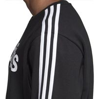 Bluza męska adidas Essentials 3S Crew FL czarna DQ3084