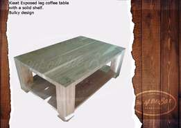 Bulky flush design coffee table with lower solid shelf