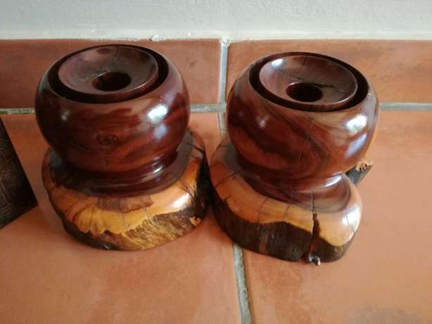 2 Heavy Wooden Candle Holders (Very Sturdy) Great Condition In Holder! Kempton Park - image 8