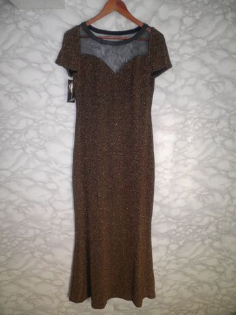 b3c1860b25 Nowa sukienka maxi wieczorowa złota czarna suknia rybka Sylwester L XL  Rzeszów - image 1