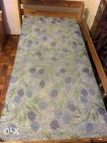 Pine single bed with mattress
