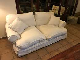 2 seater slipcover couch