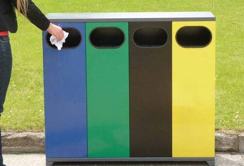 Cosuri de gunoi triplu de exterior 40 l waste container
