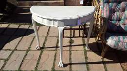 Imbuia Ball & Claw Half moon Table (White Washed)