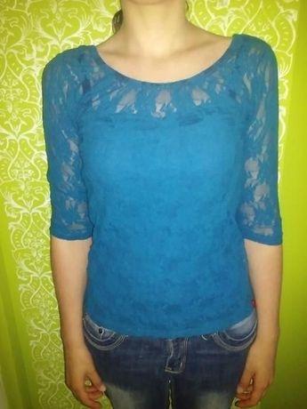 fc74274696 Niebieska koronkowa bluzka z dekoltem na plecach Pabianice - image 1