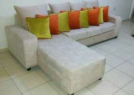 L cream with brown stripes sofa,4 back cushions and 8 cushions