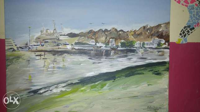A beautiful painting of Matrah corniche by award winning artist