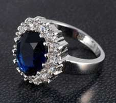 simulated sapphire and diamonds ring