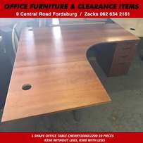 L shape office table cherry1600x1200