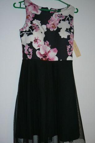 Sukienka czarna w kwiaty,dół tiulowy Nowa roz.36 Strachosław