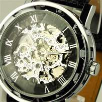 2017 Classic Men's Black Leather Dial Skeleton Mechanical watch