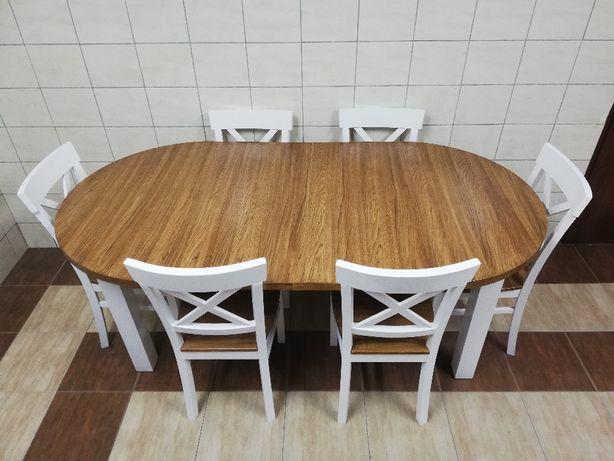 Okrągły Stół Rozkładany Dwukolorowy Z 8 Krzesłami Salon