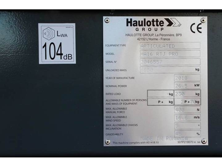 Haulotte HA16RTJPRO - 2018 - image 2