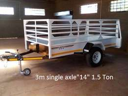 "3m x 1.5m x 1m single axle ""14"" with brake system."