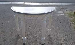 Grey & White Painted Halfmoon Table