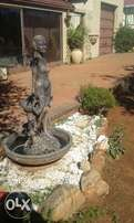 Garden fountain feature - statue and bowl
