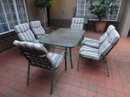 6 Seater Glass Patio Set with Cushions