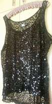 Black sequence short sleeve top for evening wear