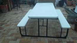 Plastic table with seating