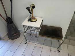 Antique brass telephone and seat set