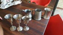 Beer jugs and wine goblets