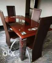 ZX Four Sitter Glass Dining Table And Chairs (New)