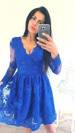 818b24bd Sukienka chabrowa Emo 36/S nowa koronkowa rozkloszowana niebieska ...