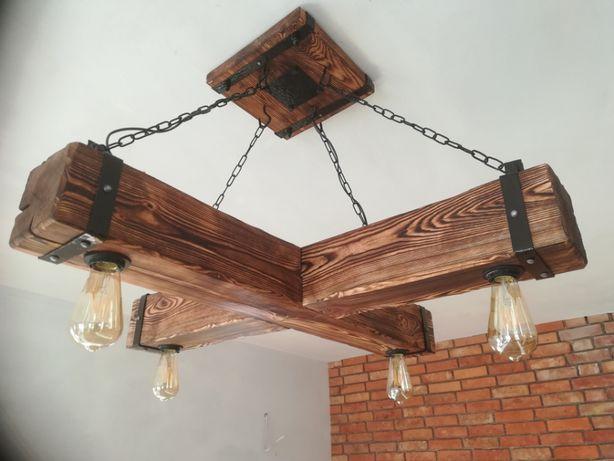 Drewniana Lampa Wisząca żyrandol Retro Postarzana Belka