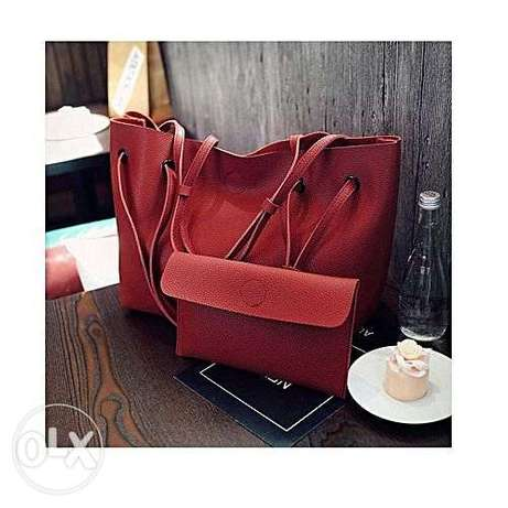 2 In 1 Spacious Leather Handbag - Red Abuja - image 1