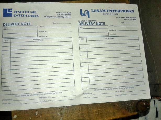 Receipt ,invoice , business card, delivery , cash salebook printing Nairobi CBD - image 1