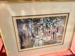 Framed Oil Print / Picture - probably Venice