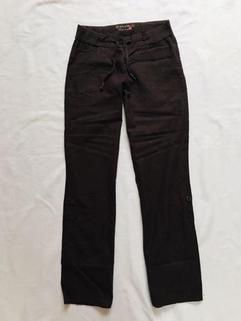 53f9c738889234 Tchibo spodnie damskie 36 len bawełna brązowe podwijane nogawki Hornówek -  image 2