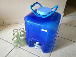 Water Can Container and glass