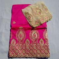 Pink Colour Indian Lace George With Blouse - 7 Yards