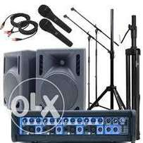 Hire of P.A System Portable Package 600watts+600watts