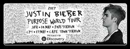 1x Justin Bieber Purpose Tour Cape Town Concert Tickets