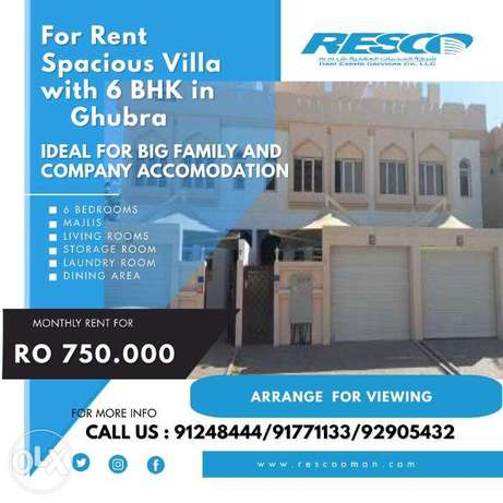 For Rent 6BHK in Al Ghubra, Ideal for Family and Company Accomodation
