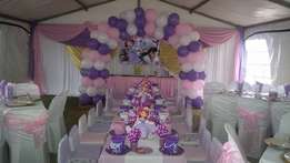Themed kiddies party 20 kids 2800 ... added on matching adult set ups