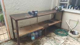 Large steel garage table