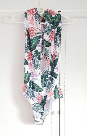 c393ed3a07cf83 Nowy strój kąpielowy otwarte plecy 36 S 38 M floral liście kwiaty wzór  Szczecin - image