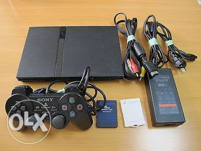 playstation 2 slim cables + controller + memory ps2