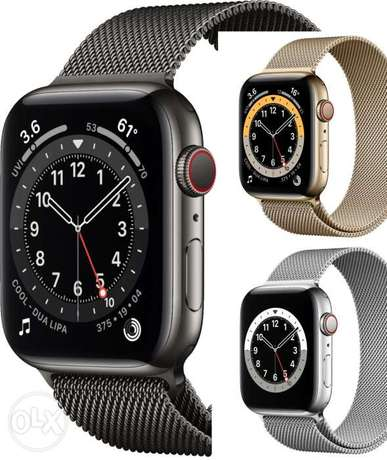 Apple Watch series 6 Stainless steel 44mm GPS +Cellular جديده متبرشمه