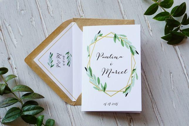 Zaproszenia ślubne Boho Rustykalne Geometryczne Wianki żywiec