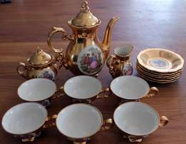 17 Piece Vintage Gold Bavarian China Tea Set