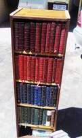Wooden Bookcase With FIFTY Hardcover Books.