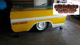 Bar counters made from a ford F100 loadbin