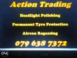 Aircon Regas and Headlight polishing
