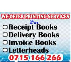 Receipt books,,invoices,delivery books & letterheads