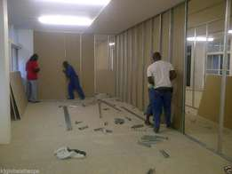 Drywalling partitions tilling wooden flooring painting