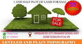 One And Half Plot Of Land, Close To Oauth, Ife City Grammer School